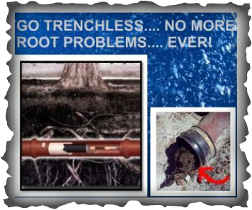 Picture / info graphic - go trenchless, no more root problems ever