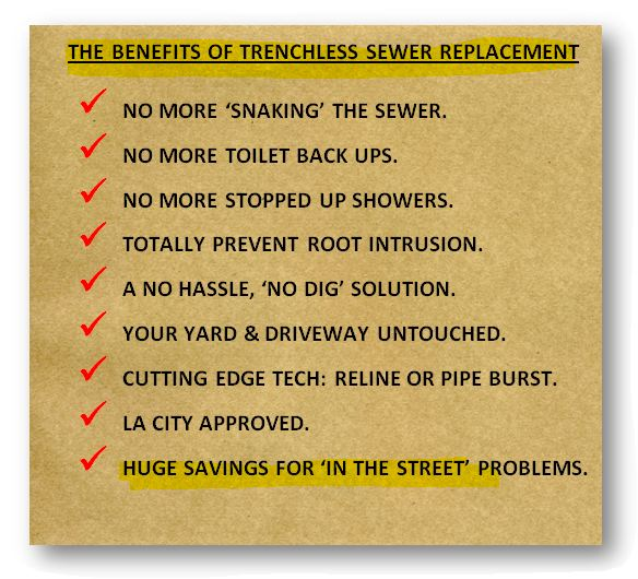 info graphic; Benefits of trenchless sewer replacement