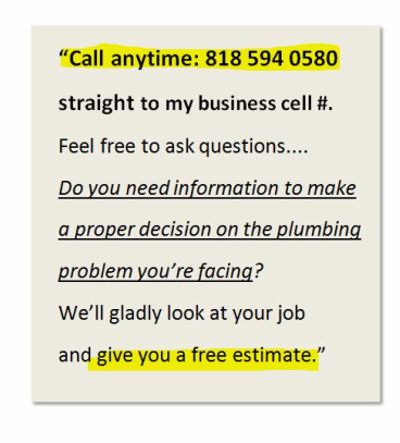 info graphic: Champion Plumbing contact information. Call 818 594 0580